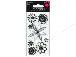 stickers: SandyLion Sticker Essentials Sketch Flowers Black