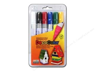 Thin point black marker: Uchida DecoColor Opaque Paint Marker Broad Point 6 pc. Primary
