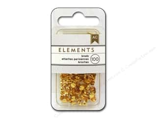 metallic brads: American Crafts Elements Brads 5 mm Mini 100 pc. Gold