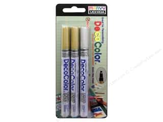 Uchida Decocolor Paint Marker Set - Extra Fine Tip - Gold & Silver 3 pc.