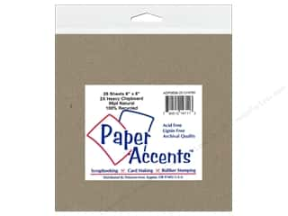 scrapbooking & paper crafts: Paper Accents Chipboard 6 x 6 in. 85 pt. 2X Heavy Natural (25 pieces)