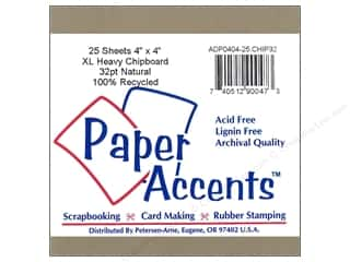 chipboard sheets: Paper Accents Chipboard 4 x 4 in. 32 pt. XL Heavy Natural (25 pieces)