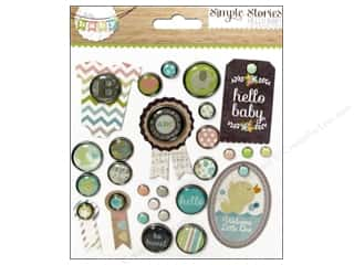 shape brads: Simple Stories Decorative Brads Hello Baby