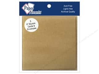 6 x 6 in. Blank Card & Envelopes by Paper Accents 5 pc. Brown Bag