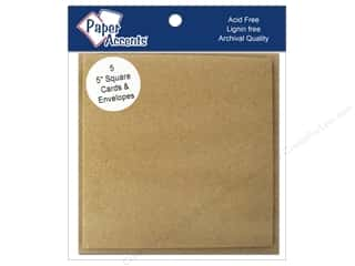 """Cards & Envelopes  5"""" x 5"""": 5 x 5 in. Blank Card & Envelopes by Paper Accents 5 pc. Brown Bag"""
