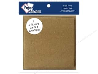 Blank Card & Envelopes: 4 x 4 in. Blank Card & Envelopes by Paper Accents 5 pc. Brown Bag
