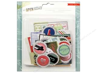 Clearance Paper Accents Bottle Caps: Crate Paper Embellishments Open Road Ephemera Pack