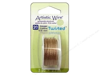 craft & hobbies: Artistic Wire 20 ga. Twisted Wire 3 yd. Tarnish Resistant Brass