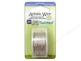 scrapbooking & paper crafts: Artistic Wire 20 ga. Twisted Wire 3 yd. Tarnish Resistant Silver