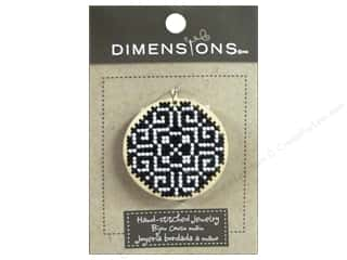 yarn & needlework: Dimensions Jewelry Hand Stitched Large Circle Pattern Black & White