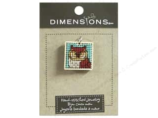 yarn & needlework: Dimensions Jewelry Hand Stitched Small Square Owl Natural