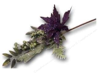 craft & hobbies: Sierra Pacific Crafts Decor Spray Mixed Leaves With Poinsettia Glitter Purple