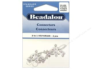 Drop Findings / Hoop Findings: Beadalon Connectors 3 To 1 Victorian 2 pc. Silver Plated