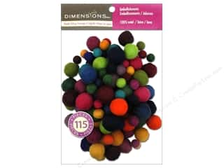 yarn & needlework: Dimensions 100% Wool Felt Embellishment Ball Assorted Value Pack