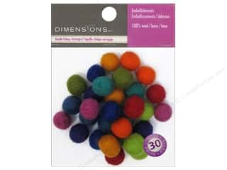 Orange felt: Dimensions 100% Wool Felt Embellishment Ball 1 cm Astd