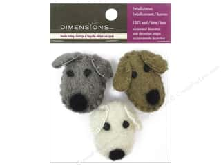 wool felt: Dimensions 100% Wool Felt Embellishment Dog Heads