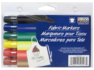 craft & hobbies: Marvy Fabric Marker Bold Tip Set 6 pc. Primary