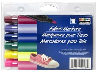 craft & hobbies: Marvy Fabric Marker Broad Tip Set 6 pc. Bright