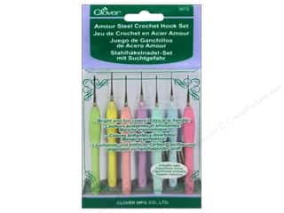 steel crochet hook: Clover Amour Steel Crochet Hook Set 7 pc.