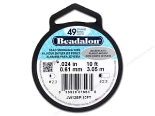 beading & jewelry making supplies: Beadalon Bead Wire 49 Strand .024 in. Silver Plated 10 ft.