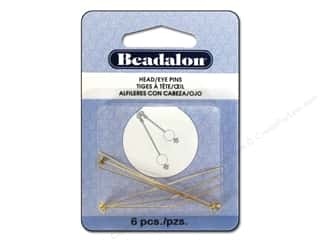 Head Pin: Beadalon Head Pins Ball & Star 2 in. Gold Color 6 pc.