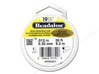 beadalon steel wire: Beadalon Bead Wire 19 Strand .012 in. Satin Gold 30 ft.