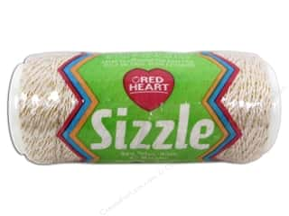 Red Heart Sizzle Crochet Thread Nylon Ivory/Gold 65 yd.