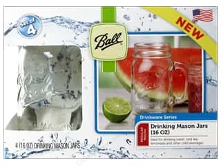 Glass Jars / Plastic Jars: Ball Drinking Mason Jars 4 pc. 16 oz. Regular Mouth