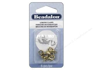 beading & jewelry making supplies: Beadalon Lobster Clasps 12.8 mm Small Gold Color 5 pc.