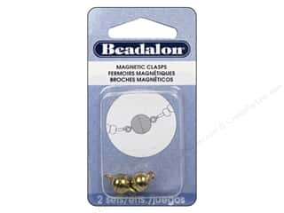 beading & jewelry making supplies: Beadalon Magnetic Clasp Round 8 mm Gold Color 2 pc.
