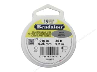 Beadalon Wildfire Bead Thread: Beadalon Bead Wire 19 Strand .010 in. Bright 30 ft.