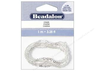 beading & jewelry making supplies: Beadalon Chain 3.1 mm Heart Dash Silver Plated 1M