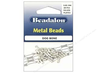 beading & jewelry making supplies: Beadalon Metal Beads 3 x 7 mm Dog Bone Silver Plated 28 pc.