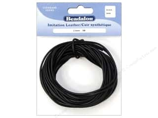 beading & jewelry making supplies: Beadalon Imitation Leather Cord 2 mm Black 5 M