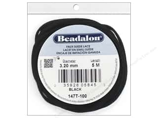 beading & jewelry making supplies: Beadalon Faux Suede Lace 3.2 mm Black 5M