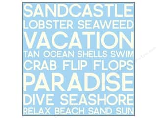 Canvas Corp 12 x 12 in. Paper Blue & Ivory Beach Word Reverse (15 sheets)