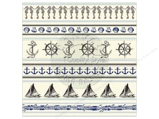 Canvas Corp 12 x 12 in. Paper Nautical Stripe On Ivory (15 sheets)