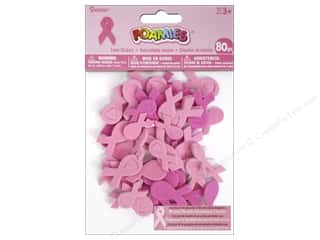 Clearance Darice Foamies Sticker: Darice Foamies Stickers Pink Ribbon 80 pc. Assorted