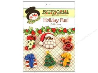Buttons Galore Holiday Fun Buttons 6 pc. Here Comes Santa