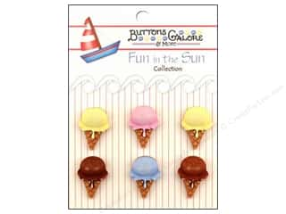 Buttons Galore Fun In The Sun Buttons 6 pc. Ice Cream Cones