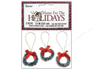 craft & hobbies: Darice Sisal Wreath 1 1/2 in. with Frost & Bow 3 pc.