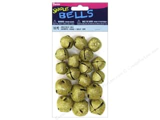 craft & hobbies: Darice Jingle Bells Assorted Size 18 pc. Glitter Gold