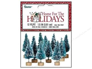 Darice Sisal Tree 1 1/2 in. Green with Frost 12 pc.