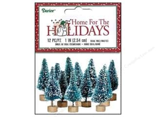 craft & hobbies: Darice Sisal Tree 1 in. Green with Frost 12 pc.
