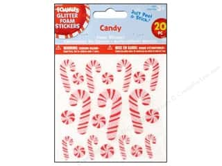 Clearance Darice Foamies Sticker: Darice Foamies Stickers Glitter Candy Canes 20 pc.