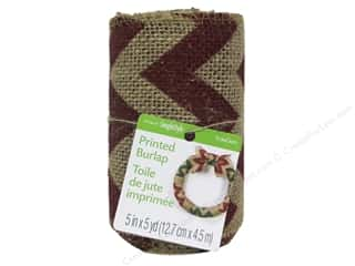 christmas ribbon: FloraCraft Burlap Ribbon 5 in. x 5 yd. Chevron Red