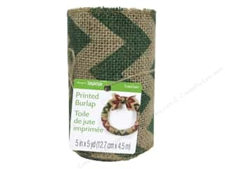 christmas ribbon: FloraCraft Burlap Ribbon 5 in. x 5 yd. Chevron Green