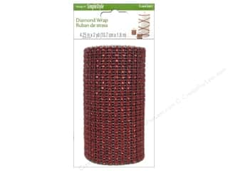 decorative floral: FloraCraft Diamond Wrap Ribbon 4 1/4 in. x 2 yd. Red