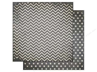 Bo Bunny 12 x 12 in. Paper Double Dot Chevron Charcoal (25 sheets)