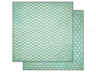 Bo Bunny 12 x 12 in. Paper Double Dot Chevron Island Mist (25 sheets)